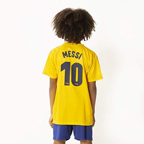 FC Barcelona Morefootballs - Offizielles Lionel Messi Auswärts Trikot Set für Kinder - Saison 19/20-128 - Tenue mit Messi Nummer 10 Trikot und kurzer Hose - Fussball Shirt und Shorts