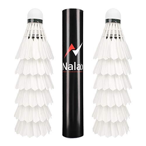 Nalax Badminton-Federbälle, 12 Stück, professionelle Entenfedern, Badminton-Federbälle mit großer Haltbarkeit, Stabilität und Balance, geeignet für professionelles Training oder Familienaktivitäten.