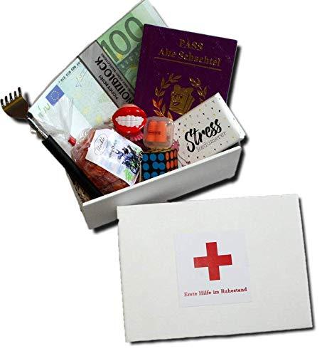 Erste Hilfe im Ruhestand Geschenkbox | Pensionierung witziges Geschenk Frau | Pensionierung Geschenke Frauen | Abschiedsgeschenk Ruhestand Kollegin | Altersteilzeit Geschenk | Geschenke Box Ruhestand