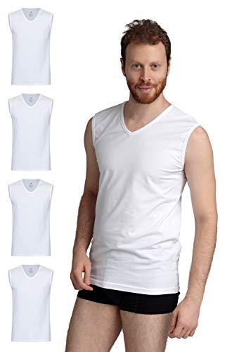 Burnell & Son Business Unterhemd ärmellos mit V-Ausschnitt für Herren aus atmungsaktiver Baumwolle Slim Fit 4er Pack Weiß Größe L