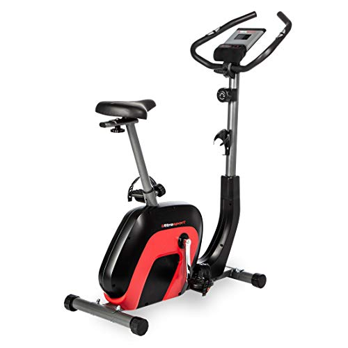 Ultrasport Heimtrainer Racer 2000, Ergometer,Fitnessbike, Display mit Bluetooth+Touch Funktion, 8-fach verstellbarer Widerstand, integr. Pulssensoren,Sattel+Lenker verstellbar,inkl Trainingsprogramme