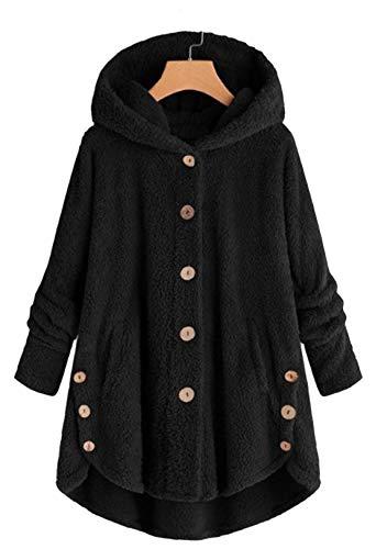 OMZIN Pullover Damen Teddy-Fleece Plüschjacke Winter Kapuzenpullover Knopfdesign Sweatshirt Hooded Plüsch Pulli Unregelmäßiger Saum Langmantel Schwarz 5XL