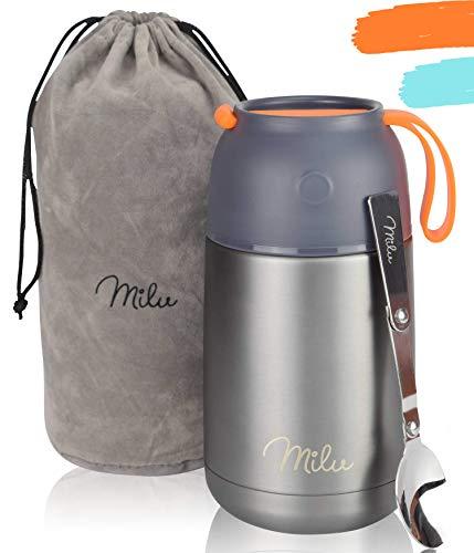 Milu® Thermobehälter 450, 650ml   Edelstahl Warmhaltebehälter   Essensbehälter   Speisegefäß Baybnahrung   Essen warmhalten Behälter   Thermo Lunchbox   Müsli to go   650ml