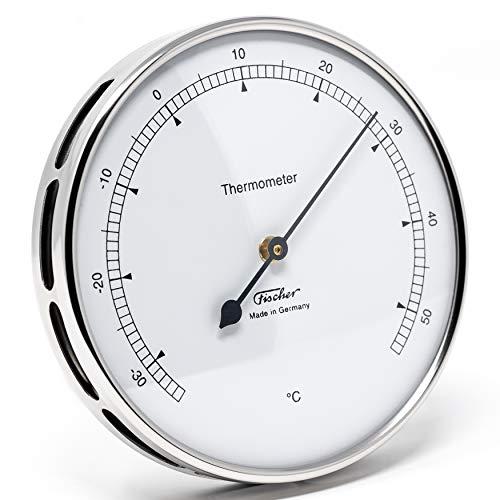 Fischer 117.01 - Thermometer für innen und außen - 103mm Bimetall-Thermometer aus Edelstahl Made in Germany