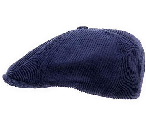 fiebig Herren & Damen Schiebermütze Flatcap Cap Mütze Cordmütze 42047 (Marine, 60 cm)