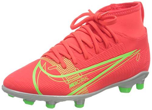 Nike Mercurial Superfly 8 Club MG Soccer Shoe, Bright Crimson/Metallic Silver-Indigo Burst-White-Rage Green, 36 EU
