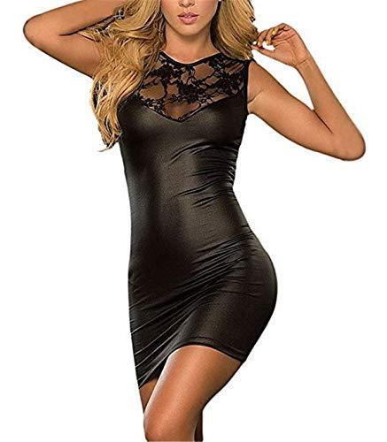 Sxybox Damen Sexy Kleid erotische Partykleid Clubwear Lackleder Wetlook Flexibel Style3 Schwarz Einheitsgroesse