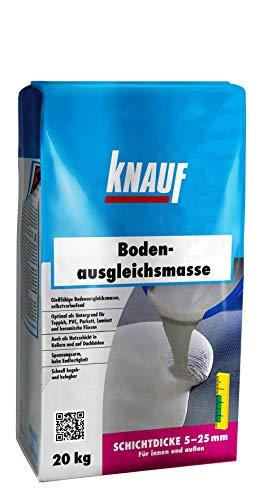 Knauf 125265 20 kg Bodenausgleichsmasse, Fließ-Spachtel, Nivellier-Masse – Estrich für Boden, innen und außen, 20-kg, zementgrau