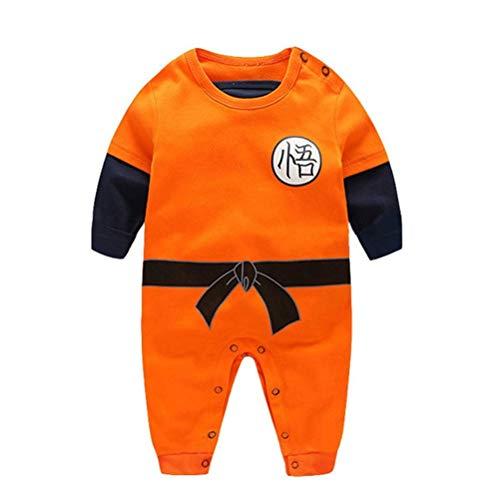 Dragon Ball Z Design Baby Jungen Mädchen Strampler Cosplay Kostüm Goku-inspiriert Säugling Outfit Overall Kleidung, Lange Ärmel, 80 CM / 9-12 Monate