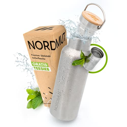 NORDMUT® Edelstahl Thermosflasche [mit Teesieb] Trinkflasche isoliert BPA frei und auslaufsicher | nachhaltige Outdoor Isolierflasche Thermoflasche - für Kinder und Erwachsene [750 ml]