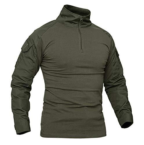 KEFITEVD Herren Tactical Shirt Combat Shirt Flecktarn Slim Fit Langarm Camouflage Shirt Paintball Airsoft Army Hemd Bundeswehr T-Shirt Militär Uniform Männer Armeegrün M