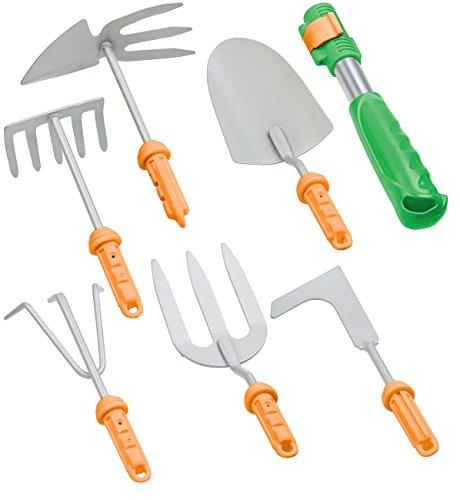 Royal Gardineer Gartenset: 7-teiliges Garten-Werkzeug-Set mit 6 Wechsel-Aufsätzen und Handgriff (Harke)
