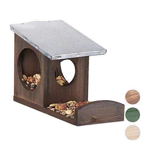 Relaxdays Eichhörnchen Futterhaus, Kobel aus Holz, wetterfestes Metall Dach, zum Aufhängen, Garten Futterstation, braun
