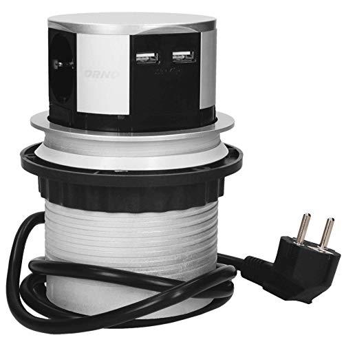 ORNO OR-AE-1342(GS) Versenkbare Einbau Steckdosenleiste 3-fach + 2x USB Ladegerät 3680W, Ø10cm, Anschlussfertig mit 1,5m Schuko kabellänge