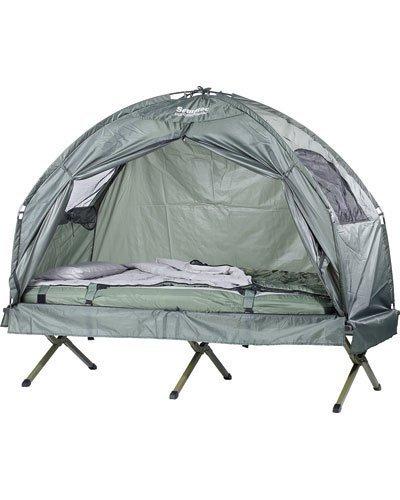 Semptec Urban Survival Technology Zeltbett: 4in1-Zelt mit Feldbett, Sommer-Schlafsack und Matratze (Zeltliege)