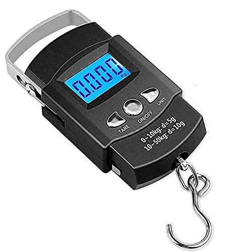 Digitale Kofferwaage Gepäckwaagen, Mmester [110 lb/50 kg] Fishing Scale Digitale Hängewaage mit LCD Display und Maßband,Auto-Hold Tara-Funktion und Abschaltautomatik