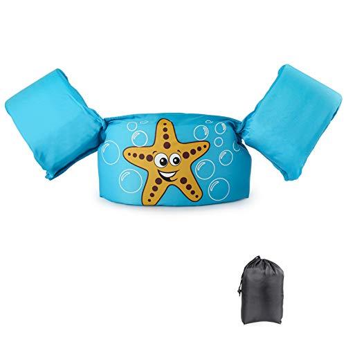 JEVDES Schwimmflügel Schwimmweste mit Schultergurt für Kinder Kleinkinder von 2-7 Jahre 15-30kg Schwimmen Lernen Schwimmhilfe mit verschiedenen Designs für Jungen und Mädchen (Seestern)