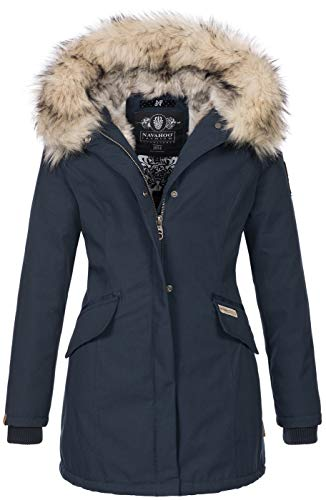 Navahoo Damen Winter Jacke Parka Mantel Winterjacke warm Kunstfell Premium B669 [B669-Christa-Navy-Gr.S]