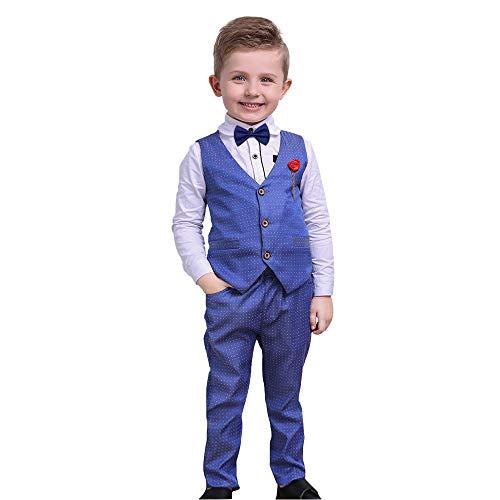 Nwada Kleinkind Junge Langarmhemd + Weste + Hose 4 StüCk Jungen Winter Gentleman Kleidung Anzug Blau 5-6 Jahre Alt