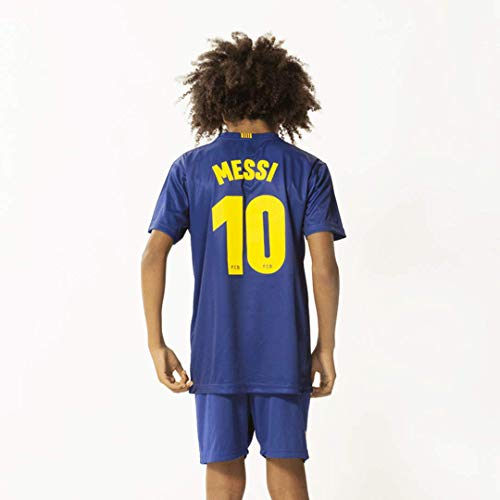 FC Barcelona Morefootballs - Offizielles Lionel Messi Heimspiel Trikot Set für Kinder - Saison 19/20-164 - Heim Tenue mit Messi Nummer 10 Trikot und kurzer Hose - Fussball Shirt und Shorts