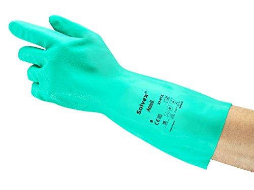Ansell AlphaTec 37-675 Nitril-Handschuhe, Chemikalien-Schutz für Arbeiten in der Industrie, mit Chemikalien und Lebensmitteln, Grün, Größe 10 (12 Paar)