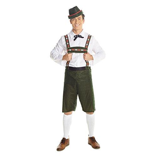 Morph Okotoberfest Lederhosen Kostüm Herren, Lustiges Oktoberfest Kostüm, Bayerisches Faschingskostüm - L (107-112 cm Brustumfang)