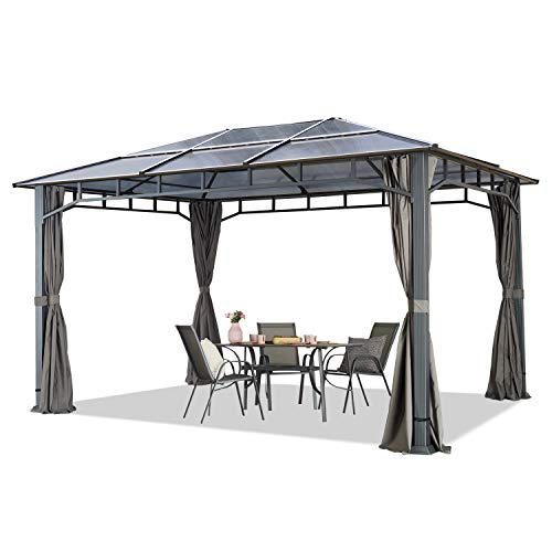 TOOLPORT Gartenpavillon 3x4m wasserdicht ALU Deluxe Polycarbonat Dach ca. 8mm Pavillon 4 Seitenteile Partyzelt grau 9x9cm Profil