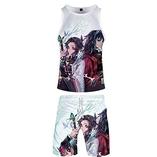 Ga-yinuo Hausanzug Sleepwear Pyjama Herren Schlafanzug Männer T-Shirt Herren Kurzarmshorts Freizeitkleidung 2-Teiliges Anzug Strandshorts 3D Anime Demon Slayer,XXL