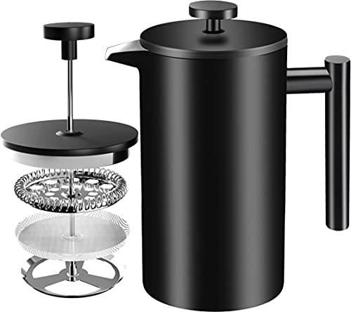 KICHLY French Press Kaffeemaschine   1 Liter, 1000 ml, 8 Tassen - Doppelwandige Edelstahl-Kaffeekanne für Haushalt, Gewerbe und Camping mit Edelstahlfilter - Schwarz