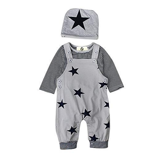T TALENTBABY Neugeborenes Baumwoll-Outfits Kleidung Strampler, T-Shirt-Oberteile mit Streifen + Latzhose + Hut mit Stern-Stickerei-Body-Overall, Grau, 9-12 Monate