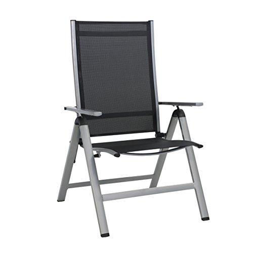 greemotion Klappsessel Monza Comfort silber/schwarz, für den Innen- und Außenbereich, Stuhl mit 7-fach verstellbarer Rückenlehne, schmutzunempfindlich und pflegeleicht, Sitzmaße: ca. 55 x 42 x 44 cm