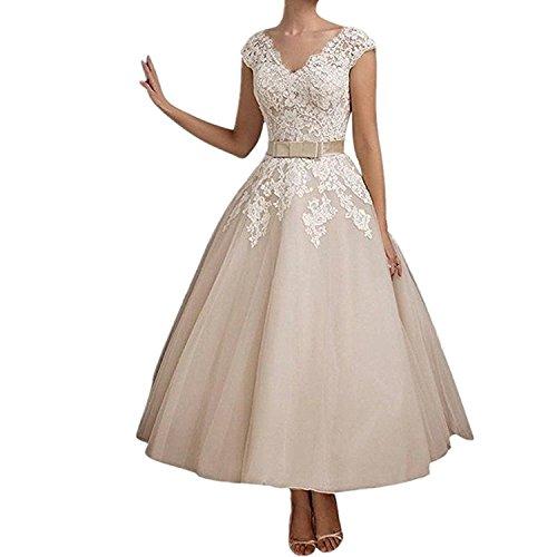 YASIOU Hochzeitskleid Standesamt Damen Weiß Vintage Tiefer Rücken A Linie Spitze mit Band Brautkleider