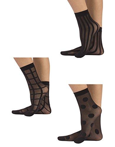 CALZITALY 3 Paar Damen Gemusterte Socken   Feine Elegante Socken mit Muster   Fashion Söckchen   Punkten, Streifen, Karierte   Schwarz   Einheitsgrösse   Made in Italy (Schwarz, Einheitsgröße)