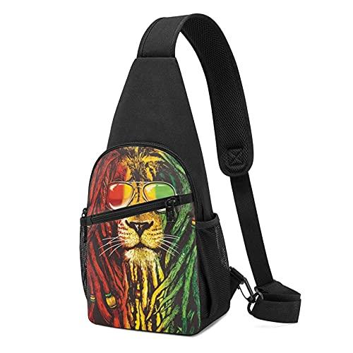 Sling Bag Reggae Rasta Lion One Strap Hiking Crossbody Chest Pack Lightweight Shoulder Daypack for Men Women