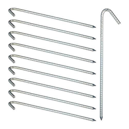 Relaxdays, silber XL Bodenanker im 10er Set, extrem stabile Erdanker, Zeltzubehör, extra lang, 39 cm, Stahl verzinkt