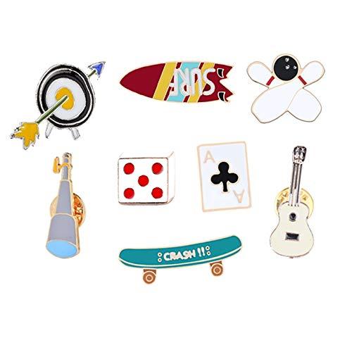 ZSCZQ Cartoon Metall Broschen Würfel Bowling Gitarre Comic Symbol Emaille Pins Shirt Abzeichen Button Für Frauen Geschenke Kinder Schmuck Zubehör Bowling