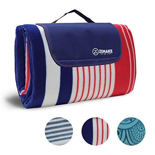 ZOMAKE Picknickdecke wasserdicht sanddichte Fleece 200x200/150 Outdoor XXL Campingdecke Stranddecke (Rot und Blau 200x150cm)