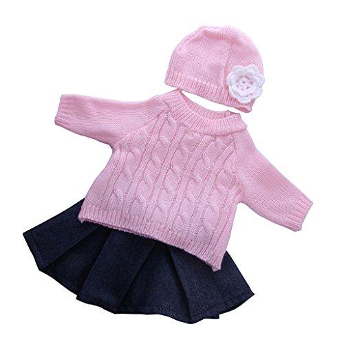 MagiDeal 3 Stück / Set Puppe Kleidung Outfit Pullover + Jeans Faltenrock + Blumen Hut Für 18 '' Puppe