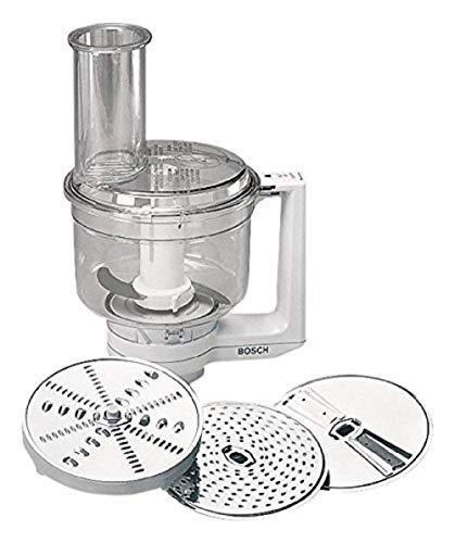 Bosch Multimixer MUZ4MM3, spülmaschinengeeignete Teile, inklusive 3 Scheiben (Schneid-Wende-Scheibe, Raspel-Wendescheibe, Reibescheibe fein) und Schlagmesser, für MUM4 Küchenmaschine