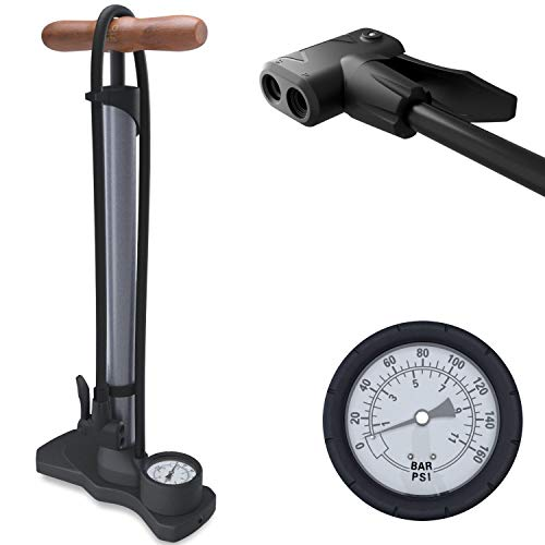 HiLo sports Luftpumpe Fahrrad kompakt - kleine Radpumpe für alle Ventile mit Dual Kopf - 11 Bar / 160 Psi Manometer - Fahrradpumpe mit Holz Griff - Standpumpe mit Druckanzeige