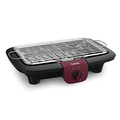 Tefal BG90E5 Easygrill Adjust Elektro- Tischgrill   2300 Watt   720 cm² Grillfläche   Einfache Reinigung   Schwarz/ Burgunderrot