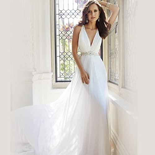 YQ&TL Hochzeitskleid Übergröße Ärmelloser tiefer V-Ausschnitt Durchsichtiger Rücken aus Spitze Brautkleid mit langem Brautschwanz White US:12