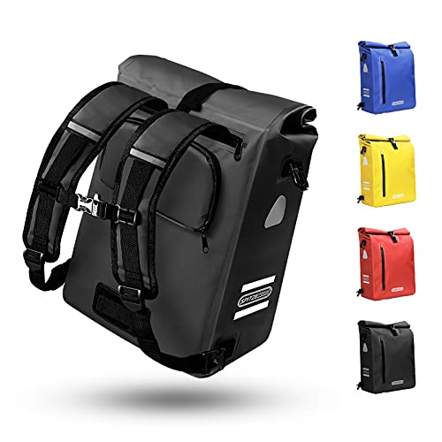 Fahrradtasche für Gepäckträger 3in1 Geeignet als Gepäckträgertasche, Rucksack und Umhängetasche 100% Wasserdicht 25L Fahrradtaschen mit 4 Reflektoren für Pendeln, Einkaufen, Radtour