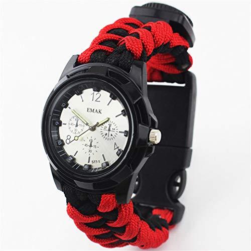 CWYPB Outdoor-Bergwacht Sportuhren, Männliche Damen Survival Bracelet Fashion Multifunktionale Umbrella Rope Knitting Compass Whistle Fire Stick Thermometer Wrist Watch,D