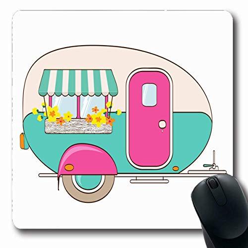 Mousepads für Computer Längliche Form Transport Happy Cute Pink Türkis Camper Fenster Travel Markise Sport Freizeit Box Candy Adventure Rutschfeste Oblong Gaming Mouse Pad