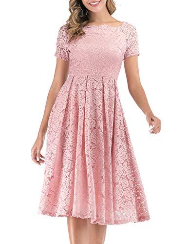 DRESSTELLS Spitzen Hochzeitskleider für Damen Elegant Schulterfrei Lace Cocktailkleid Abendkleid Rosa Kurz Blush L