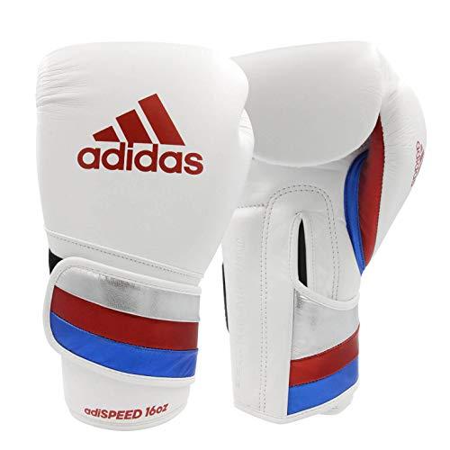 adidas AdiSpeed Boxhandschuhe für Erwachsene, Herren, Damen, 340,2 g, 397,9 g, 453,6 g, 510,3 g (weiß/rot, 453,6 g)