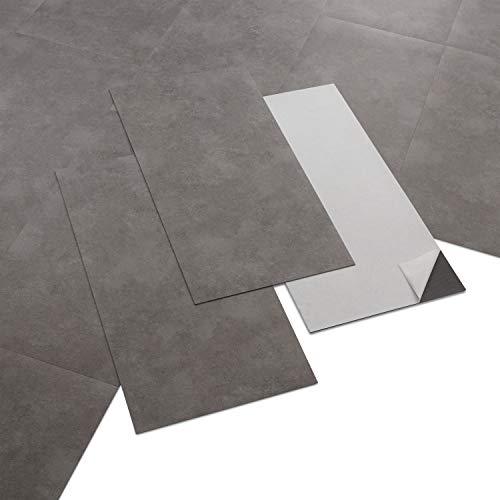 ARTENS - PVC Bodenbelag - Selbstklebende Fliesen - Betoneffekt - Grau/Braun - 2.23m² / 12 Fliesen