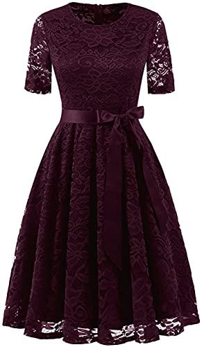DRESSTELLS Damen elegant Spitzenkleid Kurzarm Rundausschnitt Abendkleid kurz Brautjungfernkleid Weinrots Kleid Burgundy XL