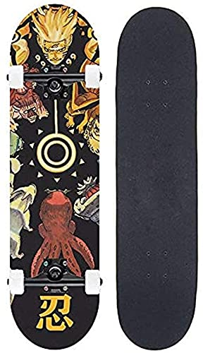 Nixi888 Naruto Uzumaki Naruto Kurama Q-Version Anime-Skateboard, Mini-Cruiser, 7-Lagen-Ahorn-Deck-Skateboard, lasthaltiges 100 kg, Anfänger Road Street Scooter